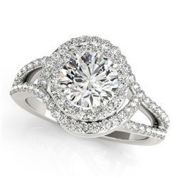 2.15 ctw Certified VS/SI Diamond Solitaire Halo Ring 14k White Gold