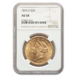 1876-S $20 Liberty Gold Double Eagle AU-58 NGC