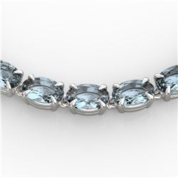 29 ctw Aquamarine Eternity Tennis Necklace 14k White Gold