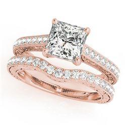 1.15 ctw Certified VS/SI Princess Diamond 2pc Set 14k Rose Gold
