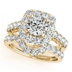 3.51 ctw Certified VS/SI Diamond 2pc Wedding Set Halo 14k Yellow Gold