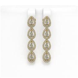 3.84 ctw Pear Cut Diamond Micro Pave Earrings 18K Yellow Gold