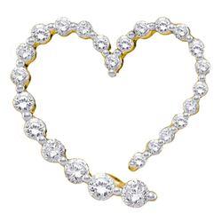14kt Yellow Gold Round Diamond Graduated Heart Journey Pendant 1/2 Cttw