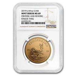 2019 South Africa 1 oz Gold Krugerrand MS-69 NGC (Mint Error)