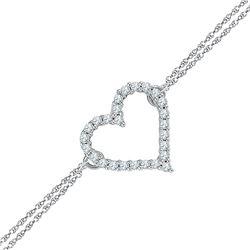 Sterling Silver Round Diamond Heart Bracelet 1/8 Cttw