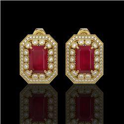 13.75 ctw Certified Ruby & Diamond Victorian Earrings 14K Yellow Gold
