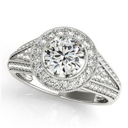 1.7 ctw Certified VS/SI Diamond Solitaire Halo Ring 14k White Gold