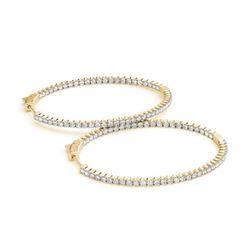 3 ctw Diamond VS/SI 36 MM Hoop Earrings 14k Yellow Gold