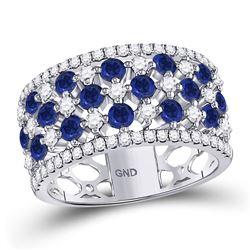 18kt White Gold Round Blue Sapphire Diamond Checkered Band Ring 2.00 Cttw