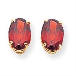 14k 8x6 mm Oval Garnet Earrings