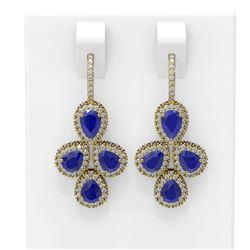 19.48 ctw Sapphire & Diamond Earrings 18K Yellow Gold