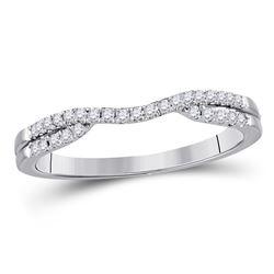 14kt White Gold Round Diamond Contour Wrap Ring Guard Enhancer 1/6 Cttw