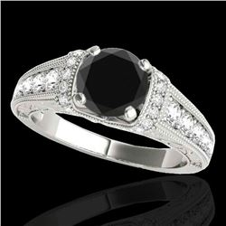 1.75 ctw Certified VS Black Diamond Solitaire Antique Ring 10k White Gold