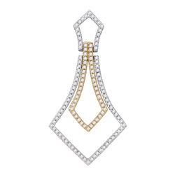14kt Two-tone Gold Round Diamond 2-tone Pendant 3/8 Cttw