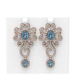 14.23 ctw Blue Topaz & Diamond Earrings 18K Rose Gold