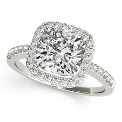 0.6 ctw Certified VS/SI Cushion Diamond Halo Ring 18k White Gold