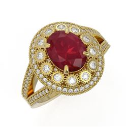 4.55 ctw Certified Ruby & Diamond Victorian Ring 14K Yellow Gold