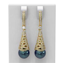 1.84 ctw Diamond & Pearl Earrings 18K Yellow Gold