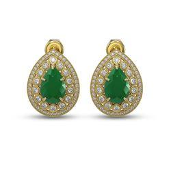 9.74 ctw Certified Emerald & Diamond Victorian Earrings 14K Yellow Gold