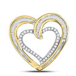 10kt Yellow Gold Round Diamond Heart Pendant 1/3 Cttw