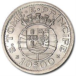 1951 St. Thomas & Prince Silver 10 Escudos BU