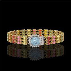 33.04 ctw Sapphire & Diamond Bracelet 14K Yellow Gold