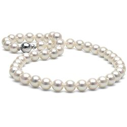 White Akoya Pearl Necklace, 9.0-9.5mm