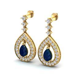 2.25 ctw Sapphire & Micro Pave VS/SI Diamond Earrings 14k Yellow Gold