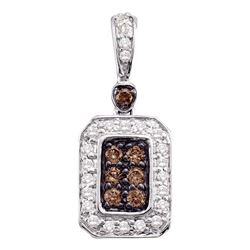 10kt White Gold Round Brown Diamond Rectangle Cluster Pendant 1/4 Cttw