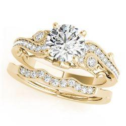 1.32 ctw Certified VS/SI Diamond 2pc Wedding Set Antique 14k Yellow Gold