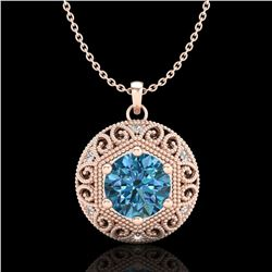 1.11 ctw Fancy Intense Blue Diamond Art Deco Necklace 18k Rose Gold