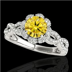 1.69 ctw Certified SI/I Fancy Intense Yellow Diamond Ring 10k White Gold