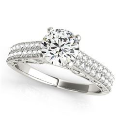 1.16 ctw Certified VS/SI Diamond Antique Ring 14k White Gold