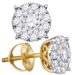 14kt Yellow Gold Round Diamond Cluster Earrings 1.00 Cttw
