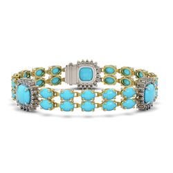 15.27 ctw Turquoise & Diamond Bracelet 14K Yellow Gold