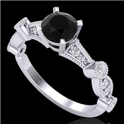1.03 ctw Fancy Black Diamond Engagment Art Deco Ring 18k White Gold