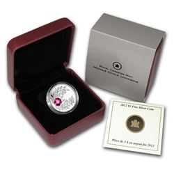 2012 Canada 1/4 oz Silver $3 Birthstone Coin January Garnet