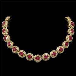 111.75 ctw Certified Ruby & Diamond Victorian Necklace 14K Yellow Gold