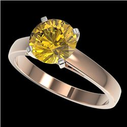 2 ctw Certified Intense Yellow Diamond Engagment Ring 10k Rose Gold