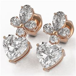 2.75 ctw Heart Diamond Designer Earrings 18K Rose Gold