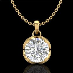 1.13 ctw VS/SI Diamond Solitaire Art Deco Necklace 18k Yellow Gold