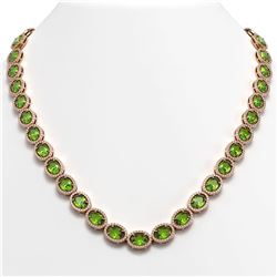 48.14 ctw Peridot & Diamond Micro Pave Halo Necklace 10k Rose Gold