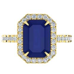 5.33 ctw Sapphire & Micro Pave VS/SI Diamond Ring 18k Yellow Gold
