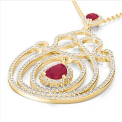3.20 ctw Ruby & Micro Pave Diamond Heart Necklace 14k Yellow Gold