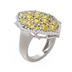 5.39 ctw Canary Citrine & Diamond Ring 18K White Gold