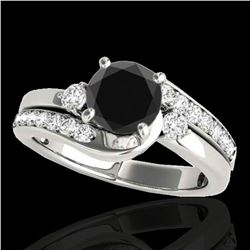 1.5 ctw Certified VS Black Diamond Bypass Solitaire Ring 10k White Gold