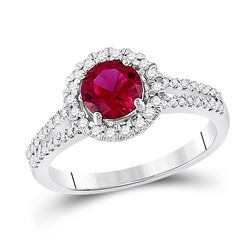 10kt White Gold Round Lab-Created Ruby Solitaire Diamond Halo Ring 1-5/8 Cttw