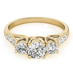 1.25 ctw Certified VS/SI Diamond 3 Stone Ring 14k Yellow Gold