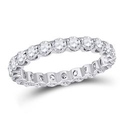 14kt White Gold Round Diamond Timeless Eternity Ring 2.00 Cttw