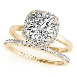 0.8 ctw Certified VS/SI Cushion Diamond 2pc Set Halo 14k Yellow Gold